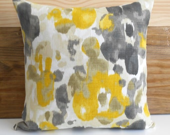 Decorative pillow cover, DwellStudio,  citrine yellow gold watercolor floral pillow