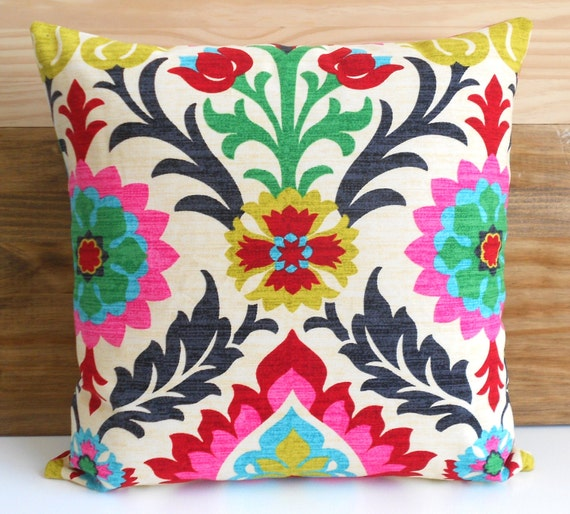 Decorative pillow cover, Multicolor floral pillow