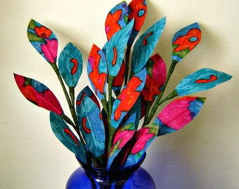 Fabric Leaves - Turquoise, Pink and Orange Abstract Floral Print  (4 Branches)