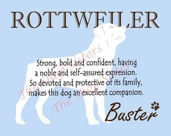 Rottweiler Print Dog Choose Breed Personalize Silhouette 8 x 10 Print Wall Art customize pet FREE SHIPPING
