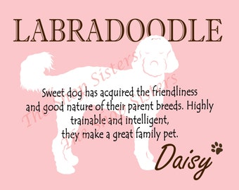 Labradoodle Print Dog Choose Breed Personalize Silhouette 8 x 10 Print Wall Art customize pet FREE SHIPPING