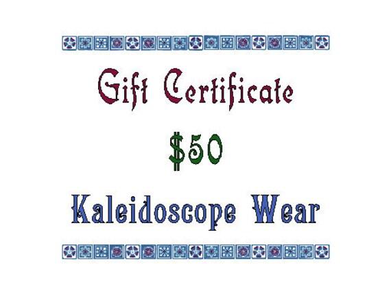 Gift Certificate for Kaleidoscope Wear