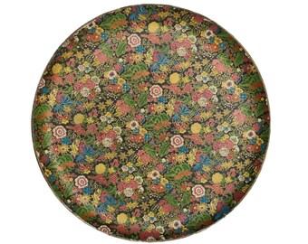 Vintage Round Floral Paper Mache Tray