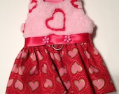 Love Is In The Air Fleece Pet Harness Dress with Leash Clip