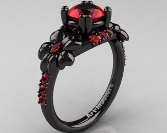 Nature Inspired 14K Black Gold 1.0 Ct Rubies Leaf and Vine Engagement Ring R245-14KBGDR