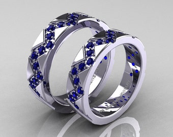 Classic Armenian 14K White Gold Blue Sapphire Wedding Band Set R504BS-14KWGBS
