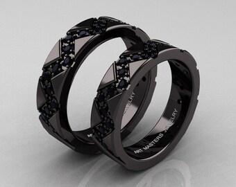Classic Armenian 14K Black Gold Black Diamond Wedding Band Set R504BS-14KBGBD