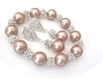 Bridal jewelry ~ Pearl bracelet and earring set - Chunky - Champagne Pearls - Crystal Rhinestones ~ Brides set - Bridal jewelry - LOLITA