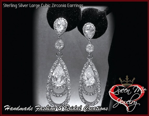 Sterling Silver Long Cubic Zirconia Earrings // Elegant // Bridal Jewelry // Bridesmaids // Prom // Gift // Sharp & Classy
