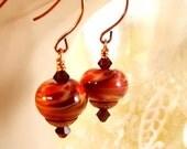 CLOSING SALE Copper Swirl Lampwork Bead Dangle Earrings - Fall Fashion Earrings