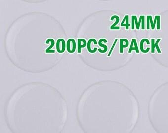 20% OFF- 200pcs 24mm Round Clear Epoxy Stickers,epoxy resin,epoxy cabochon,transparent C1930