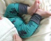Baby Cuff Leggings - Teal Dino w/ Gray Cuff  -Baby Boy Leggings - Sizes 0 Mo. - 2T