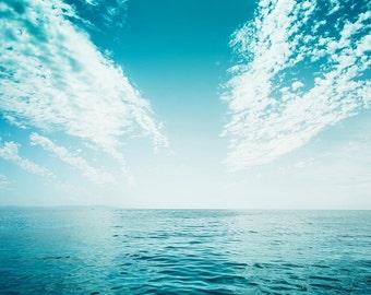 nautical decor ocean photography beach 8x10 8x12 fine art photography coastal decor teal wall art blue sky ocean landscape water ripples