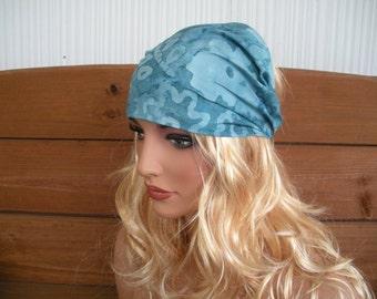 Womens Headband Fabric Headband Summer Fashion Accessories Women Headwrap Yoga Headband in Blue Batik with floral print