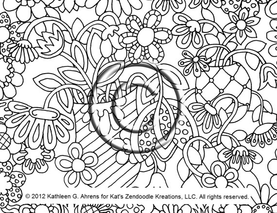 Instant PDF Download Coloring Page Hand Drawn Psychedelic