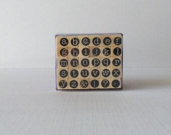 Lowercase circle framed Letter fonts Hampton Art G Studio mini ALPHABET Letters Wooden STAMP Set NIP