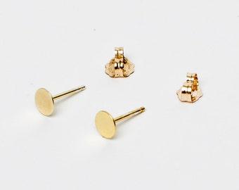 Tiny 14 Karat Gold circle  Earrings- 14 Karat plated Gold circle Studs- Gold Bar Earrings- tiny gold studs