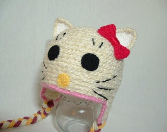 Soft Warm Winter Hello Kitty Cream /White color Hat With a Bow Adorable Perfect for Photo Prop