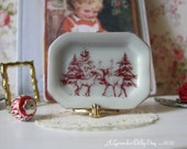 Christmas Red Reindeer Tray for Dollhouse