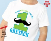 Mustache Birthday Shirt or bodysuit (Blue/Green) - Personalized Birthday Shirt with child's age and name
