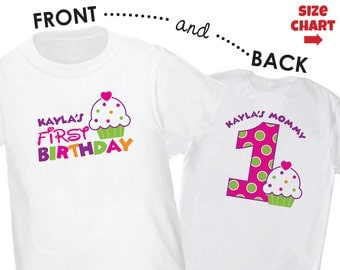 ADULT Cupcake Birthday Shirt - Front & Back Personalized 1st Birthday Shirt