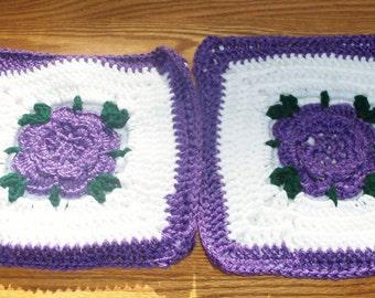 Purple Rose Potholder Set - Set of 2