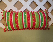 Christmas Pillow in Red Green White Stripes / Christmas Decor / Red Green Pillow / Striped Pillow / Holiday Pillow / Accent Pillow