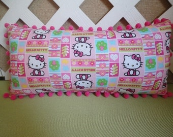 Hello Kitty Pillow in Pink and Green / Kitty Pillow / Girls Pillow / Character Pillow / Pink Pillow / Girls Room Decor / Accent Pillow