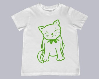 Maneki Neko Cat  Illustraton Tee - color choice, personalization available - youth sizes 2T-4T, xs, s, m, l, xl