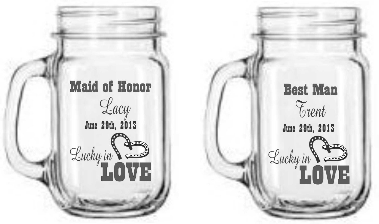 Wedding Favors Personalized Mason Jars - Western Wedding - Lucky in ...