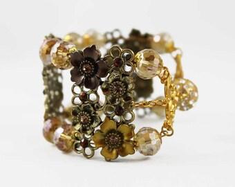 Gold Cuff Bracelet, Memory Wire Floral Bangle Bracelet, Magnetic Bracelet, Flower Jewelry, Elegant Gift Idea for Her