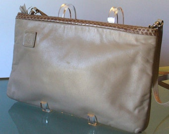 Anne Klein For Calderon Taupe Clutch With Snakeskin Trim
