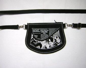 HIP BAG Festival Pouch small belt bag Little Tote Purse mini sling bag Cross Body Little Bag wallet  wristlet mixed fabrics in Black-White