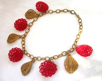 Vintage 1950's - 60's - Statement Necklace - Red Plastic Flowers and Gold tone Leaves ~ Choker with Dangles