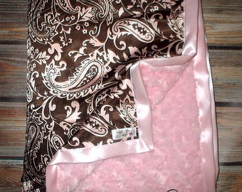 minky Blanket, Adult Minky, Baby Blanket minky blanket Brown and Pink Paisley with Charmeuse Satin Blanket Any size available