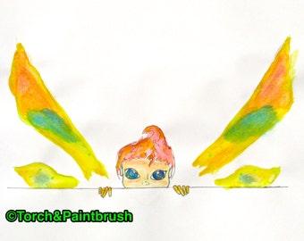 "Faery Peeking from the Edge - Original Acrylic on Paper 11"" x 14"" (Fairy, Elf, Gnome, Sprite, Pixie Painting)"