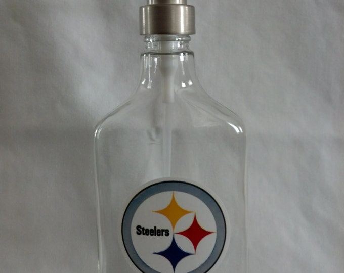 Pittsburgh Steelers glass Soap, Sanitizer or Lotion Dispenser