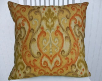 Orange Green  Pillow Cover--Watercolors--Decorative Throw Pillow, Accent Pillow 18x18 or 20x20 or 22x22--Robert Allen--Linen Blend