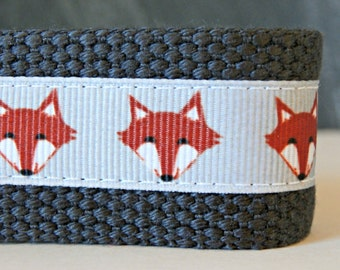 Fox Key Chain, Fox Key Fob, Mini Keychain, Grey Fox Wristlet Key Fob, Wrist Lanyard, Orange and Grey Webbing Wristlet Key Chain, Fox Ribbon