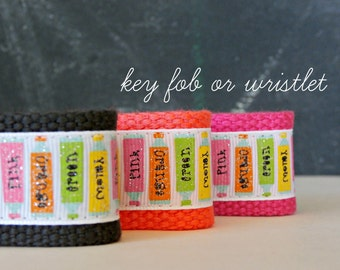 Key Fob Wrist Lanyard, Artist's Paint Tubes Glitter Ribbon, Wristlet, Art Teacher Appreciation Gift, Webbing and Ribbon Key Chain