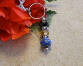 Blue and Black Charm Bead Keychain