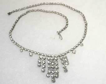 Vintage Rhinestone Necklace - Clear Cascade - Adjustable Length