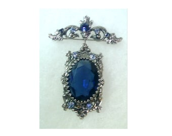 Silver Bar Pin Brooch with Faceted Blue Stone Pendant