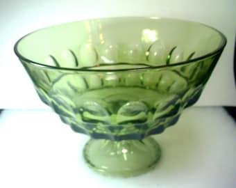 Green Pedestal Bowl 10 inches in Diameter