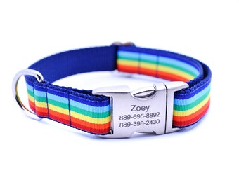 Monarch Stripe Laser Engraved Buckle Personalized Dog Collar - RAINBOW