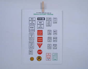 the standard shapes and colours for regulatory signs (in australia) vintage print