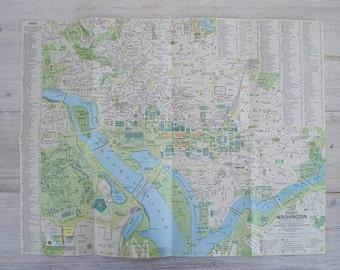 1964 vintage greater washington and tourist washington national geographic wall map