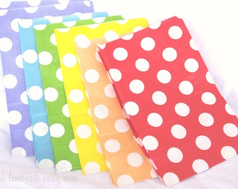 12 STanDing PolKA DoT Bags-Rainbow Pack---packaging-gifts-party favors-