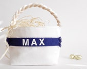 Personalized Easter Basket - Small, Large - Boy Girl - Monogram Name - Egg Hunt, Spring Home Decor, Decoration - 14 Colors (Navy Blue Shown)
