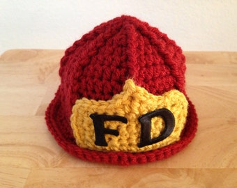 Baby Fireman Firefighter Hat in Brick Red, Photography Prop, Preemie, Newborn, 0-3, 3-6 - MADE TO ORDER
